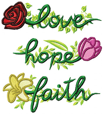 Love Hope Faith Floral Set