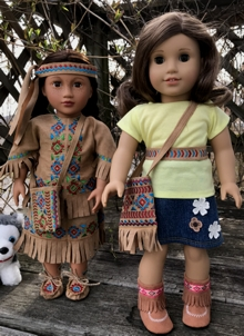 Native American Inspired Accessories for 18 inch Dolls: Bag, Two Belts and Moccasins