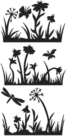 Summer Meadow Silhouette Set of 3 Machine Embroidery Designs