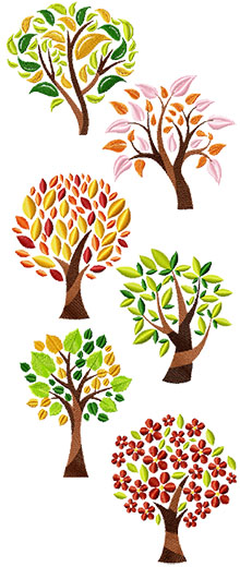 Designs of tree with folliage of different colors.