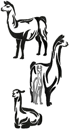 Llama Silhouette Set of 3 Machine Embroidery Designs