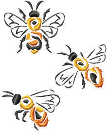 Bee Set of 3 Machine Embroidery Designs