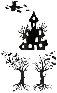 Halloween Silhouette Set of 4 Machine Embroidery Designs