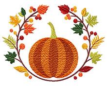 Pumpkin motif machine embroidery design