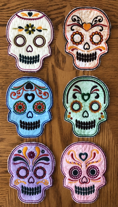 Sugar Skull Coasters In-the-Hoop (ITH)