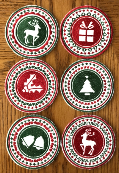 Retro Christmas Coasters In-the-Hoop (ITH)
