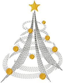 Winter Wind Christmas Tree Machine Embroidery Design