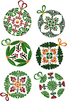 Floral Christmas Ornament Set