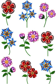 Spring Flower Set of 9 Machine Embroidery Designs