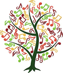 A tree with musilcal notes for foliage embroidery design.