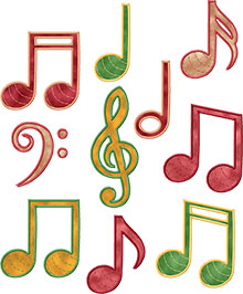 Musical Notes Applique Set of 10 Machine Embroidery Designs