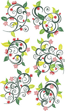 Spring Vine Set of 6 Machine Embroidery Designs