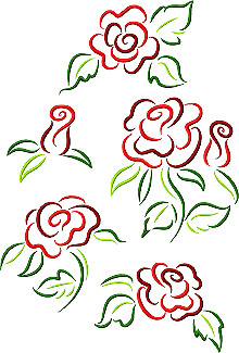 Rose Doodles Set of 5 Machine Embroidery Designs