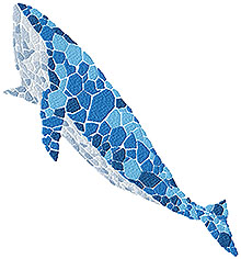 Blue Whale Mosaic Machine Embroidery Design