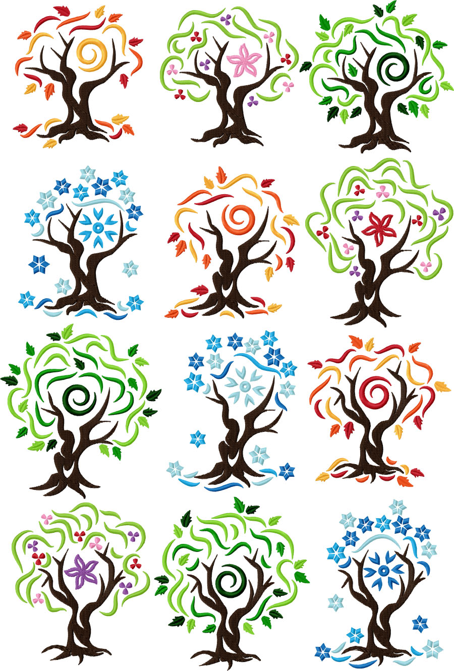 Four Seasons Tree Set of 12 Machine Embroidery Designs