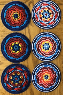 Stained Glass Flower Coasters in-the-Hoop (ITH)