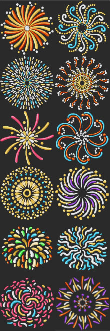 Fireworks Motif Set of 12 Machine Embroidery Designs