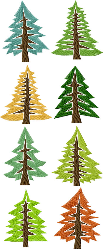 Abstract Pine Tree Set