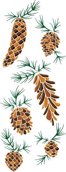 Pine Cone Set of 6 Machine Embroidery Designs
