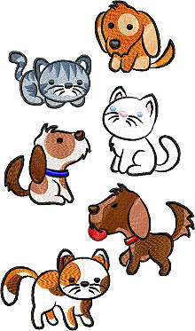 Kitties and Puppies Set of 6 Machine Embroidery Design