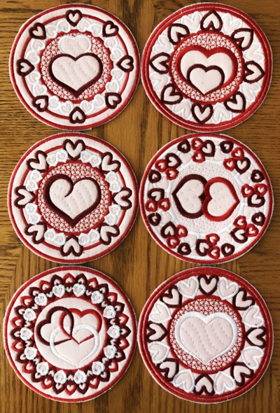 Valentine's Day Coasters In-the-Hoop (ITH)