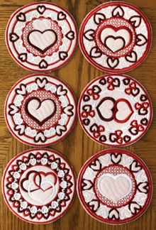 Valentine's Day Coasters In-the-Hoop (ITH) Set of 6 Machine Embroidery Design