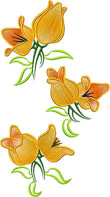 Print screen of 3 yellow tulips