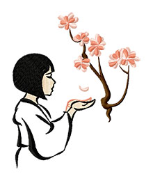 Japanese Girl with Cherry Blossoms