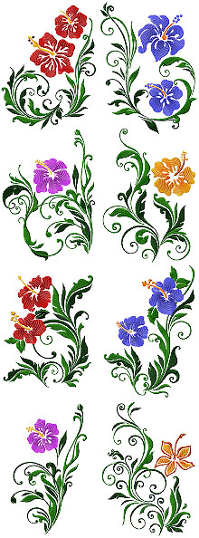 Hibiscus Set of 8 Machine Embroidery Design