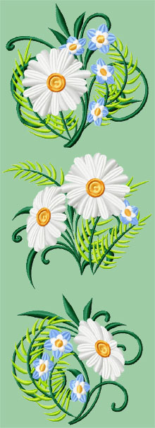 Daisy Set of 3 Machine Embroidery Designs
