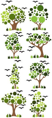 Art Nouveau Tree Set of 8 Machine Embroidery Design