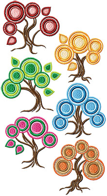 Abstract Season Tree Set of 6 Machine Embroidery Designs