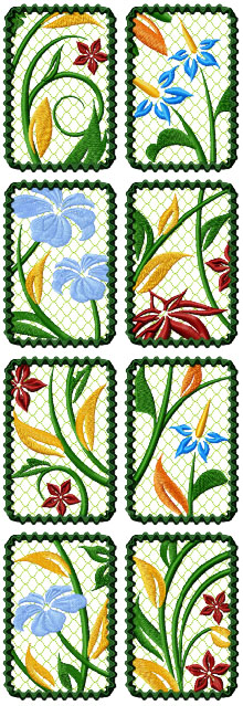 Floral Frame Set of 8 Machine Embroidery Design