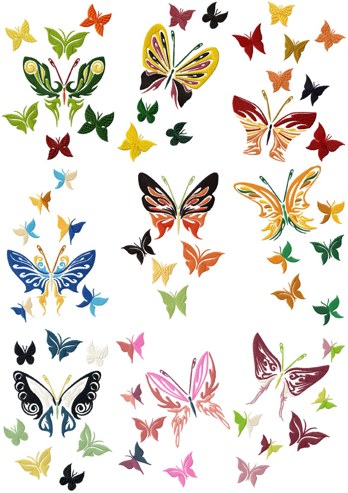 Butterfly Set of 9 Machine Embroidery Designs