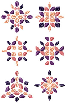 Flower Petal Motif Set Machine Embroidery Designs