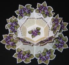 Violet Bowl and Doily Set