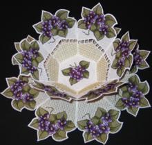 Violet Bowl and Doily Set