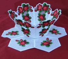 Organza Rose Trellis Bowl and Doily Set