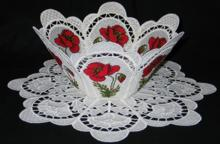 Poppy Meadow Bowl and Doily Set
