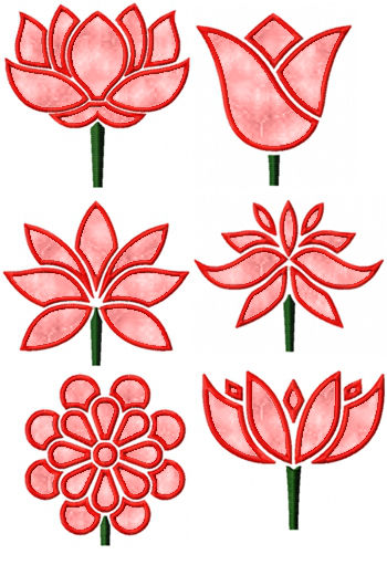 Art Deco Flower Applique Set