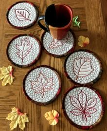 Quilted-in-the-Hoop Fall Coasters Set