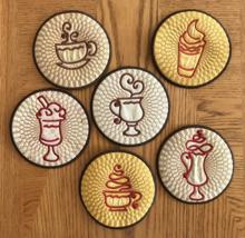 Coffee Coasters In-the-Hoop Set of 6 Machine Embroidery Designs
