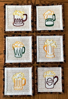 Quilted-in-the-Hoop Beer Coasters Set