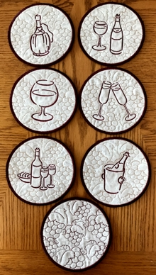 Wine Coasters In-the-Hoop (ITH) Set of 7 Machine Embroidery Designs