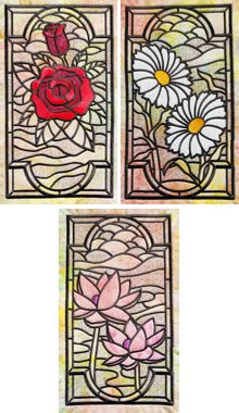 Stained-Glass Floral Applique Panel Set of 3 Machine Embroidery Designs