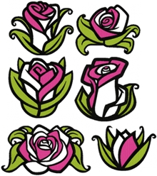 Art Nouveau Rose Applique Set