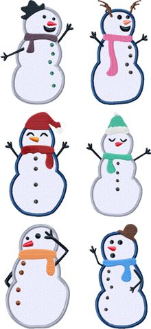 Snowmen Applique Set