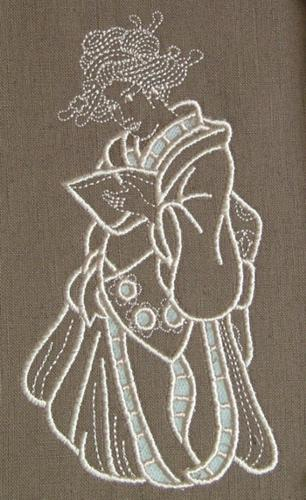 Geisha with Book Cutwork design image 4