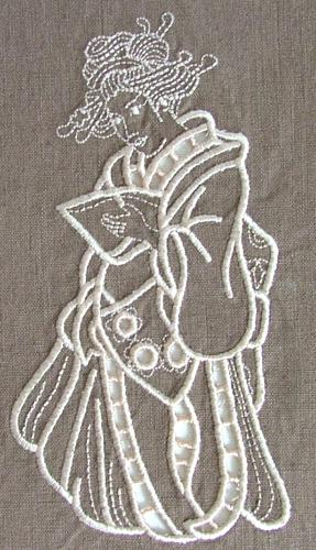 Geisha with Book Cutwork design image 5