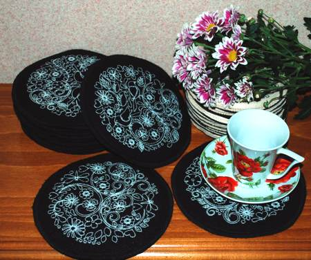 advanced embroidery designs redwork flower coaster set